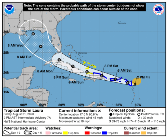 As of Friday, 2 p.m., Tropical Storm Laura is expected to travel west, northwest over the Dominican Republic, Haiti, and Cuba before making its way through the Gulf of Mexico Making landfall over the Florida Keys and then again near the Alabama-Florida border on Wednesday morning.