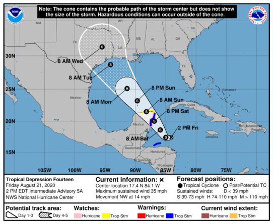 As of 2 p.m. Friday, Tropical Depression Fourteen is expected to travel northwest from the Caribbean Sea making landfall over the easter coast of Mexico before continuing on through the Gulf of Mexico and making landfall again near the Texas-Louisiana border Tuesday morning.