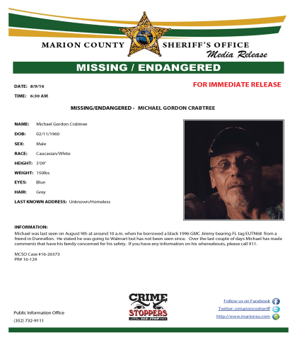 Michael Gordon Crabtree Missing Endangered