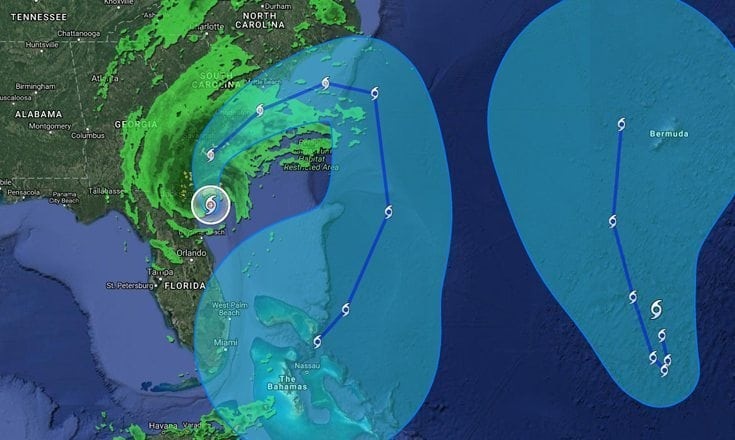 Hurricane Matthew (left) expected to loop around after hitting the South Carolina coast and return to Florida as a Tropical Storm sometime Monday.