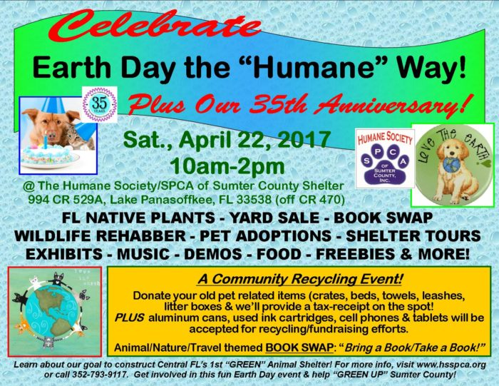 Sumter Humane Society 35th Anniversary and Earth Day Event