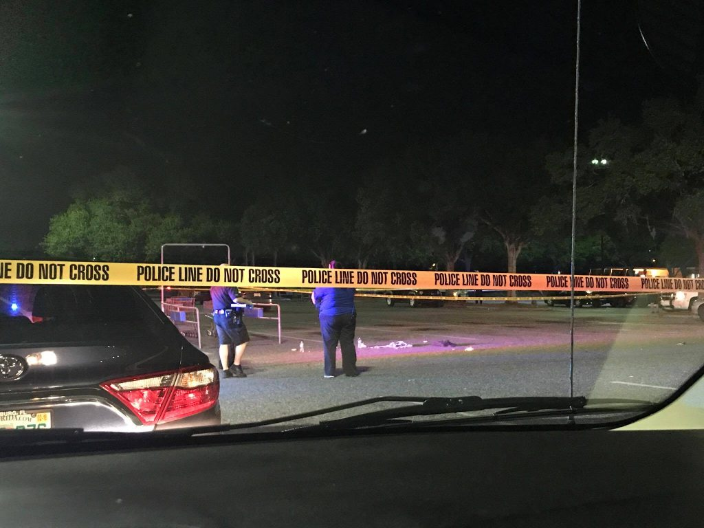 Mount Dora Police investigate the scene of a shooting at Wal-Mart Friday evening where two men were shot and airlifted to local hospitals. - Photo Credit: Jennifer Hodge