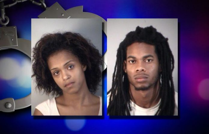 Tatiana Crapps (Left) and Tremain Tyson (Right) were arrested during a traffic stop after attempting to transport two pounds of marijuana from Orlando to Tallahassee.